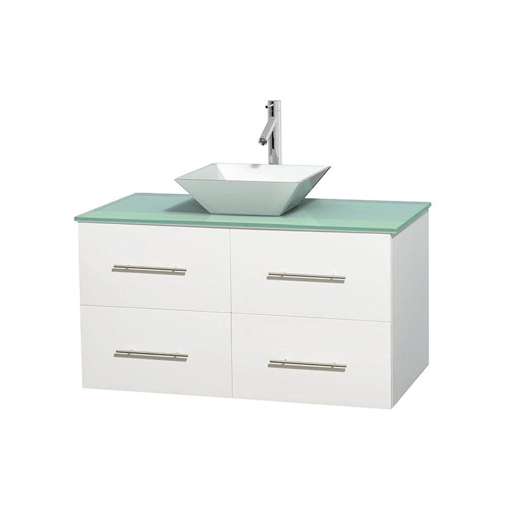 Wyndham Collection Centra 42-inch W 2-Drawer 2-Door Wall Mounted Vanity in White With Top in Green