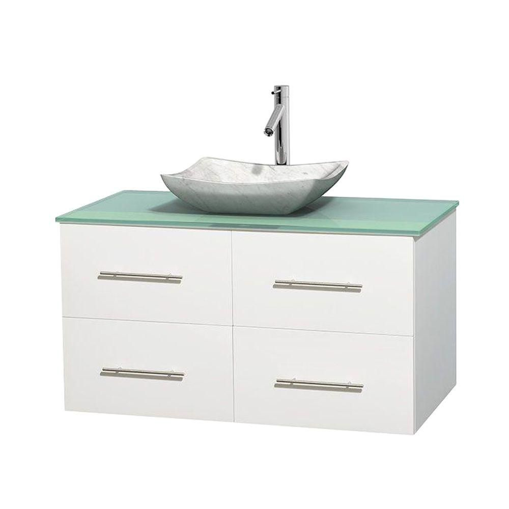 Centra 42-inch W Vanity in White with Glass Top with White Basin