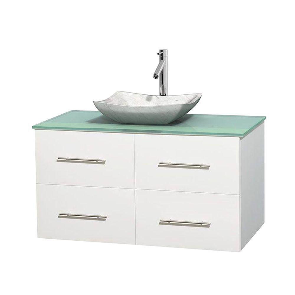 Meuble simple Centra 42 po. blanc, comptoir verre vert, lavabo blanc Carrare, sans miroir