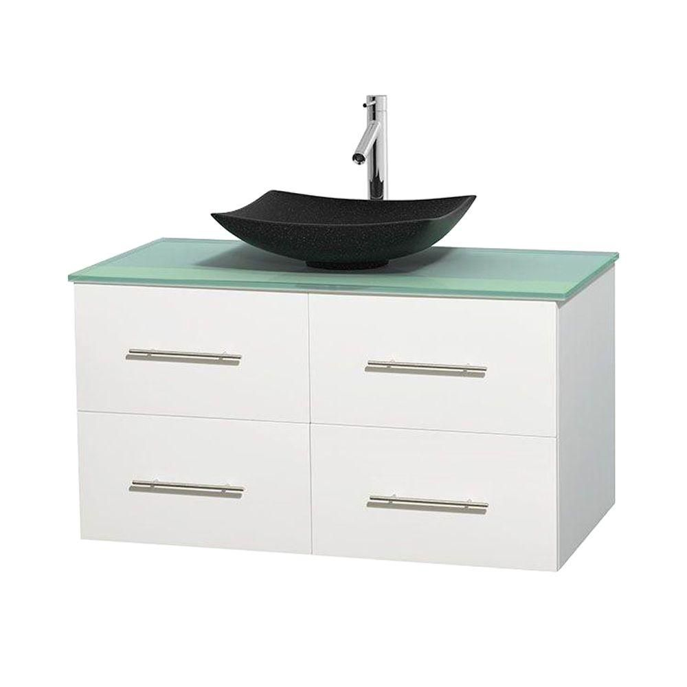 Centra 42-inch W Vanity in White with Glass Top with Black Basin