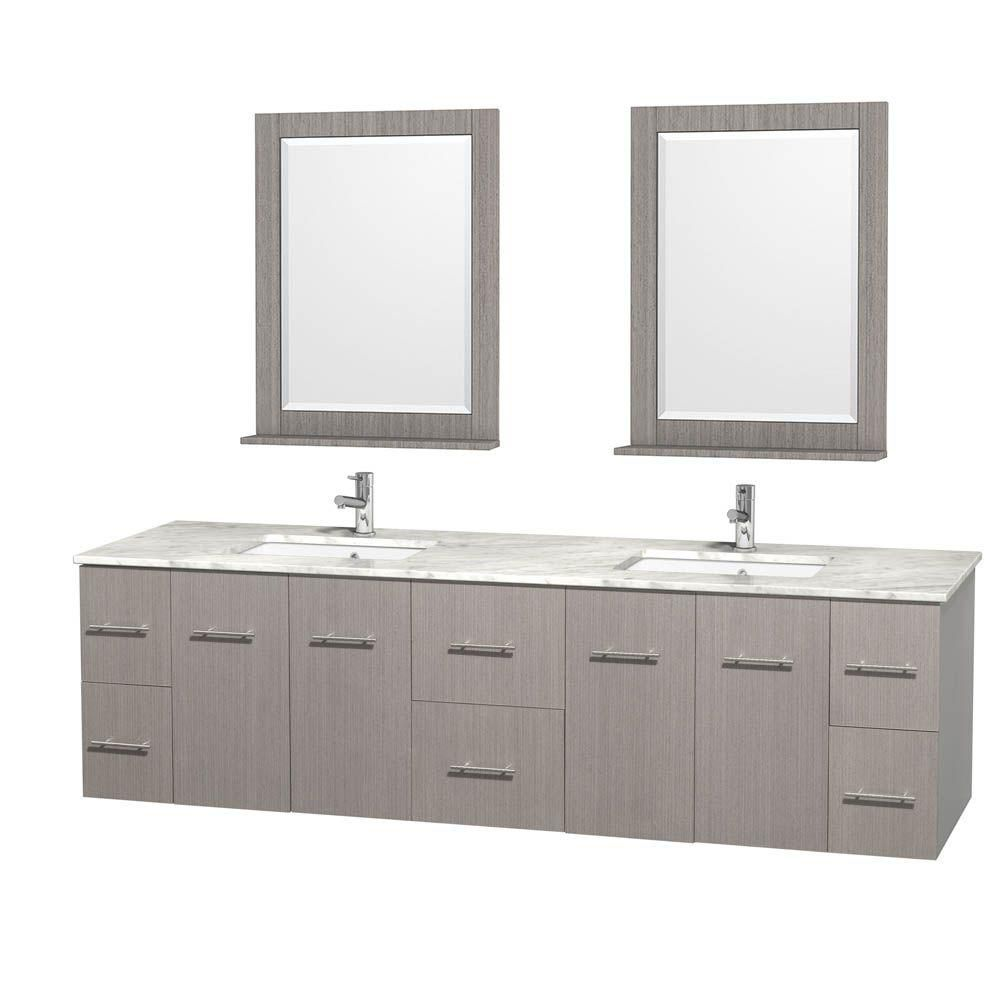 Centra 80-inch W Double Vanity in Grey Oak with White Top with Square Basins and Mirrors