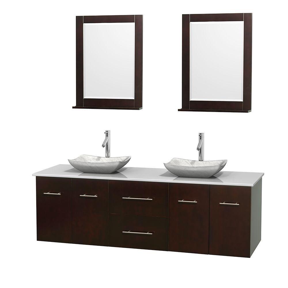 Meuble double Centra 72 po. espresso, comptoir solide, lavabos blanc Carrare, miroirs 24 po.