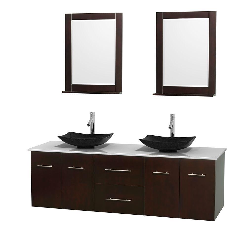 Meuble double Centra 72 po. espresso, comptoir solide, lavabos granit noir, miroirs 24 po.