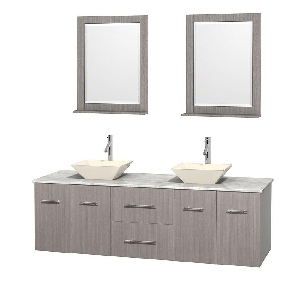 Centra 72-inch W Double Vanity in Grey Oak with White Top with Bone Basins and Mirrors