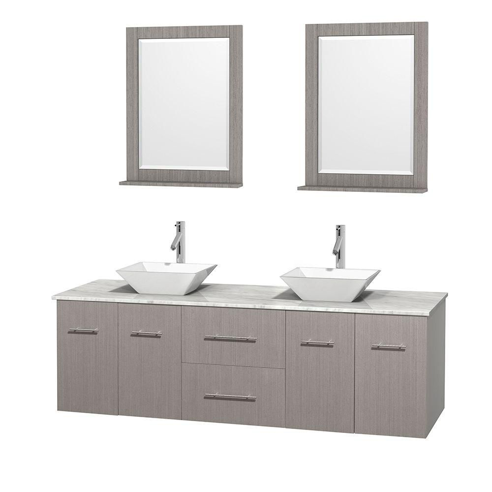 Centra 72-inch W Double Vanity in Grey Oak with Top in Carrara White and 24-inch Mirrors