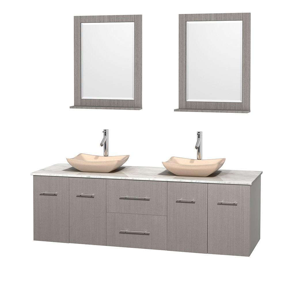 Centra 72-inch W Double Vanity in Grey Oak with White Top with Ivory Basins and Mirrors