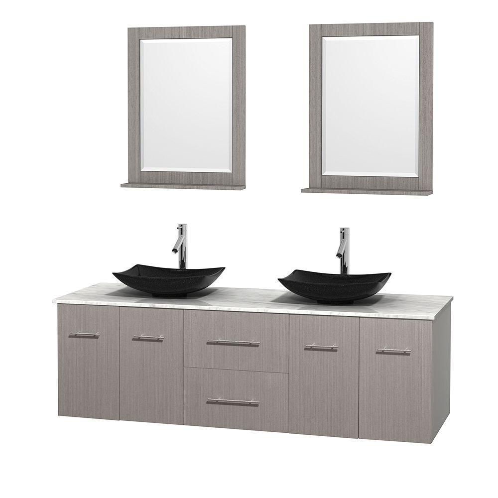 Centra 72-inch W Double Vanity in Grey Oak with White Top with Black Basins and Mirrors