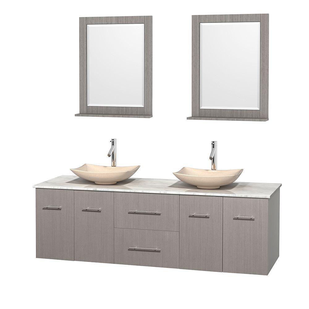 Meuble double Centra 72 po. chêne gris, comptoir blanc Carrare, lavabos ivoire, miroirs 24 po.