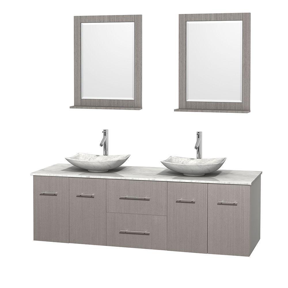Meuble double Centra 72 po. chêne gris, comptoir blanc Carrare, lavabos blanc Carrare, miroirs 24...
