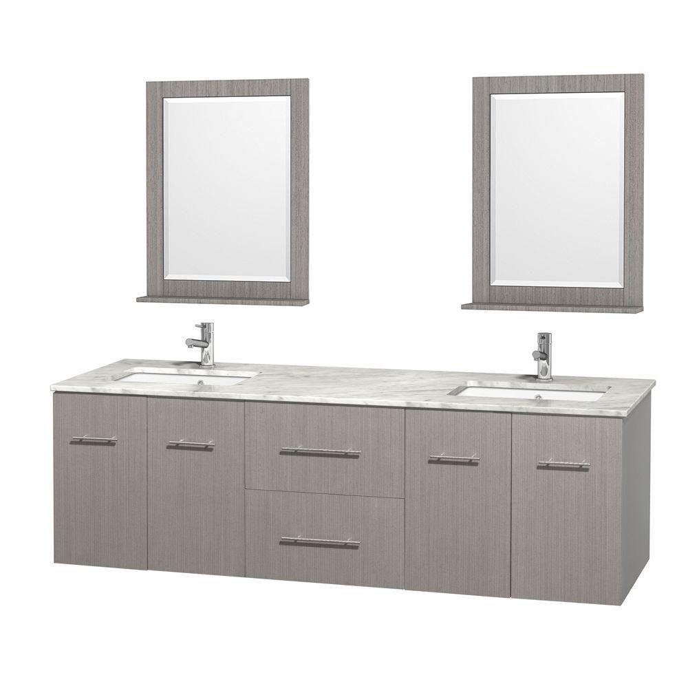Meuble double Centra 72 po. chêne gris, comptoir blanc Carrare, lavabo carré, miroir 24 po.