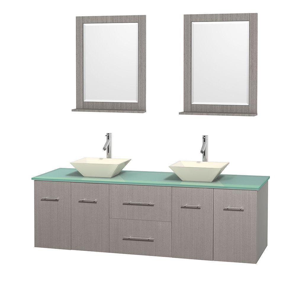Meuble double Centra 72 po. chêne gris, comptoir verre vert, lavabos porcelaine bone, miroirs 24 ...
