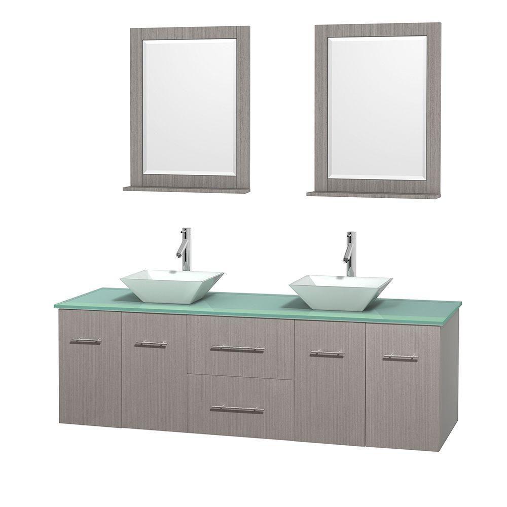 Meuble double Centra 72 po. chêne gris, comptoir verre vert, lavabos porcelaine blanche, miroirs ...