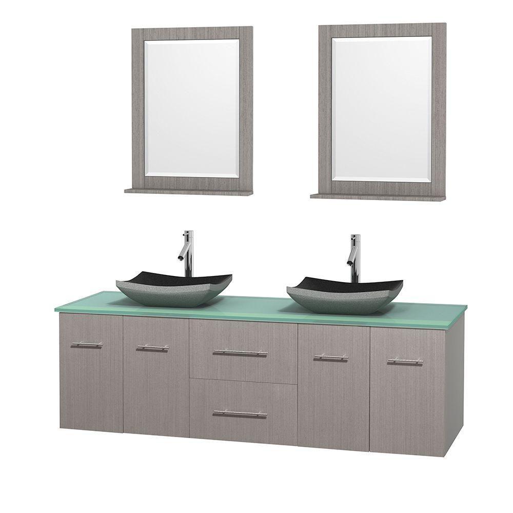 Meuble double Centra 72 po. chêne gris, comptoir verre vert, lavabos granit noir, miroirs 24 po.