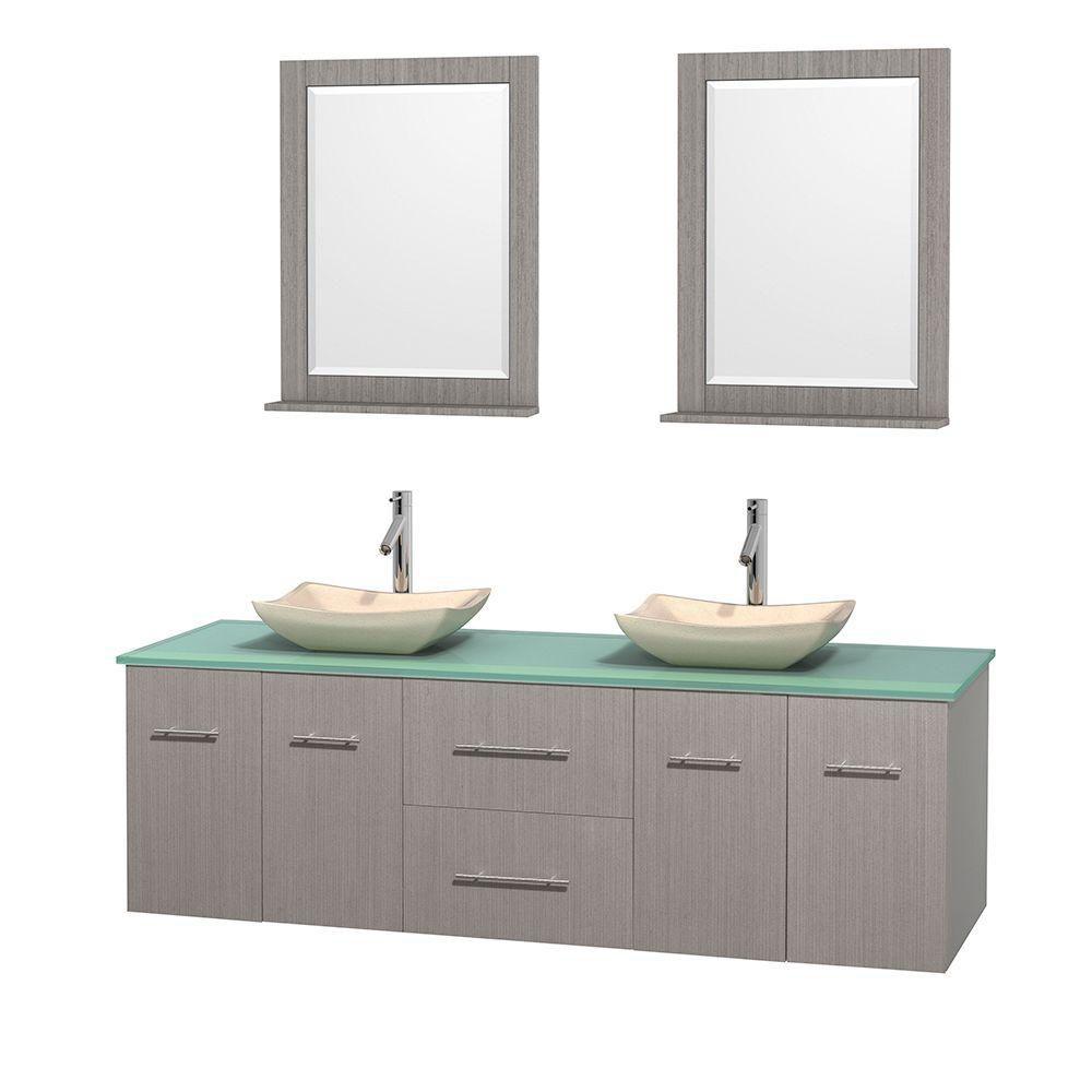 Meuble double Centra 72 po. chêne gris, comptoir verre vert, lavabos ivoire, miroirs 24 po.