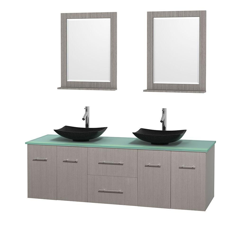 Centra 72-inch W Double Vanity in Grey Oak with Glass Top with Black Basins and Mirrors