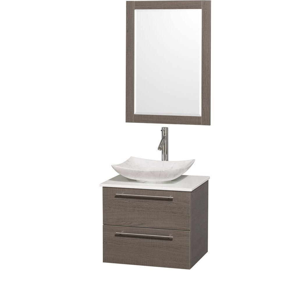 Amare 24-inch W Vanity in Grey Oak with Solid Top with White Basin and Mirror