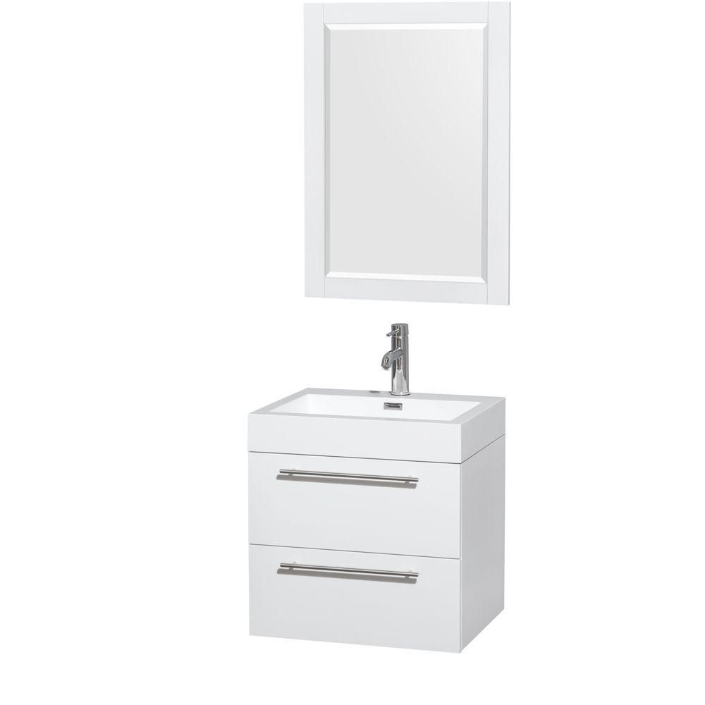Amare 24-inch W Vanity in Glossy White with Acrylic-Resin Top and 24-inch Mirror