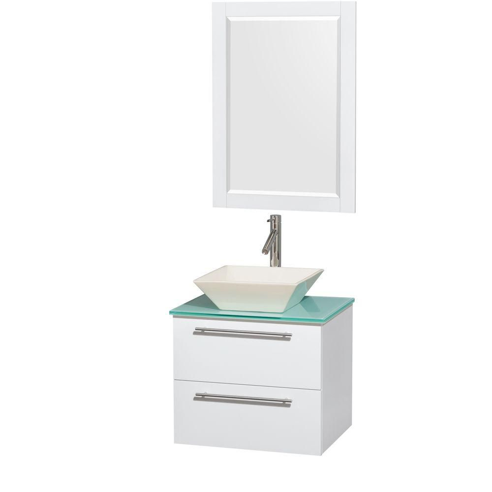Amare 24-inch W Vanity in White with Glass Top with Bone Basin and Mirror