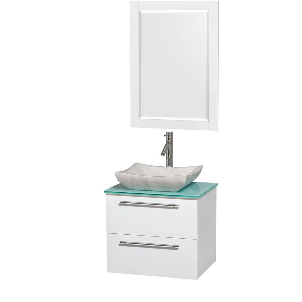 Amare 24-inch W Vanity in White with Glass Top with White Basin and Mirror