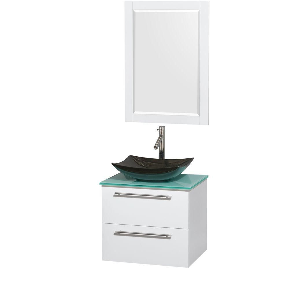 Amare 24-inch W Vanity in White with Glass Top with Black Basin and Mirror