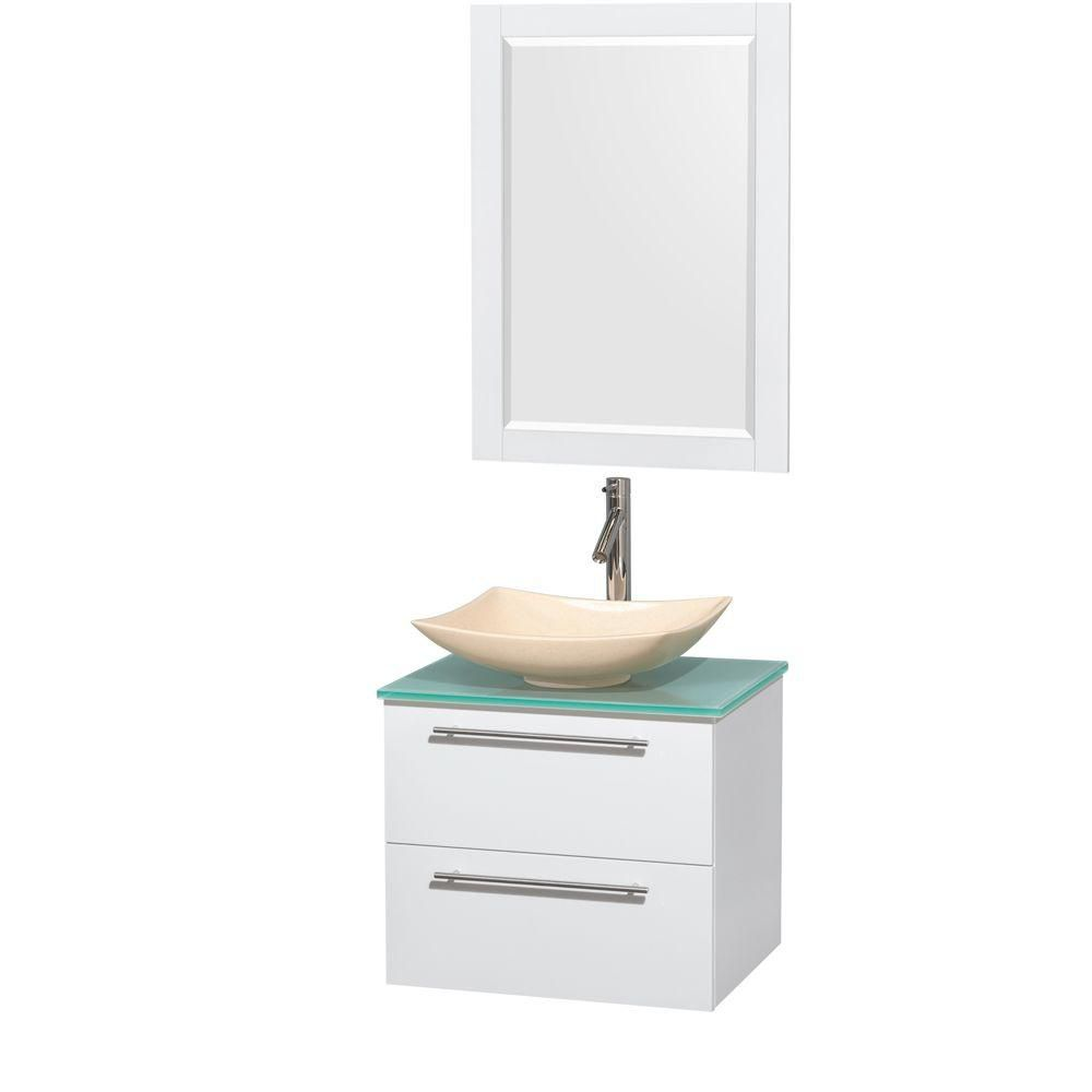 Amare 24-inch W Vanity in White with Glass Top with Ivory Basin and Mirror