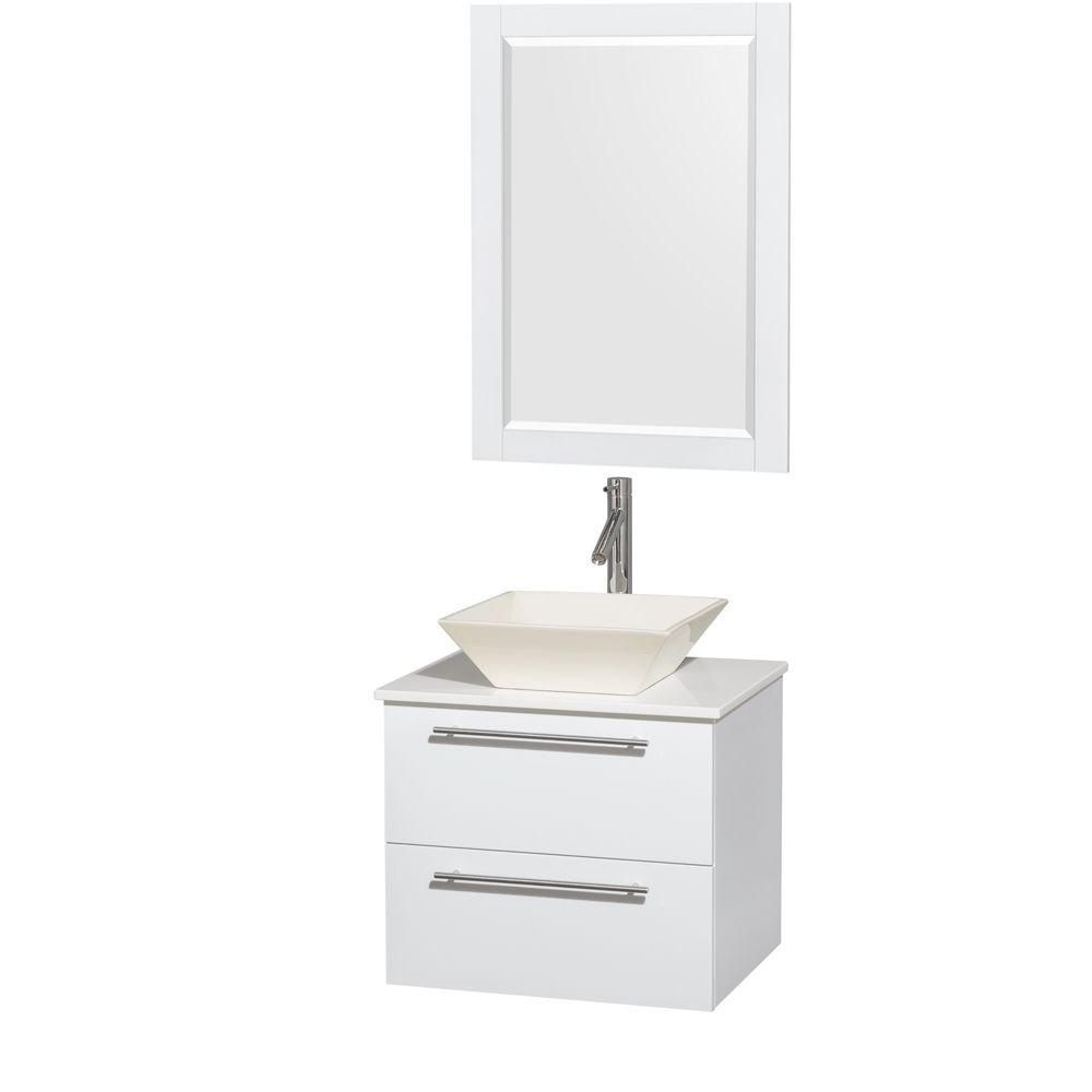 Amare 24-inch W Vanity in White with Solid Top with Bone Basin and Mirror