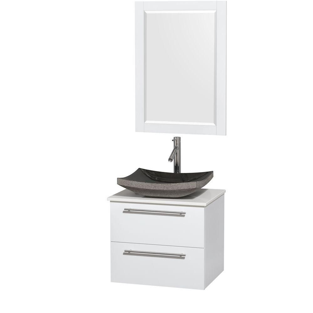 Amare 24-inch W Vanity in White with Solid Top with Black Basin and Mirror