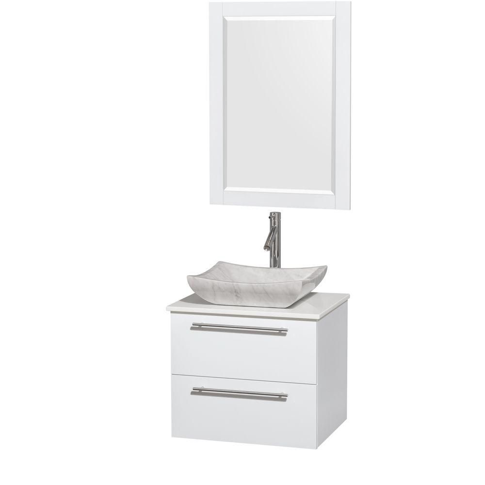 Wyndham Collection Amare 24-inch W 2-Drawer Wall Mounted Vanity in White With Artificial Stone Top in White