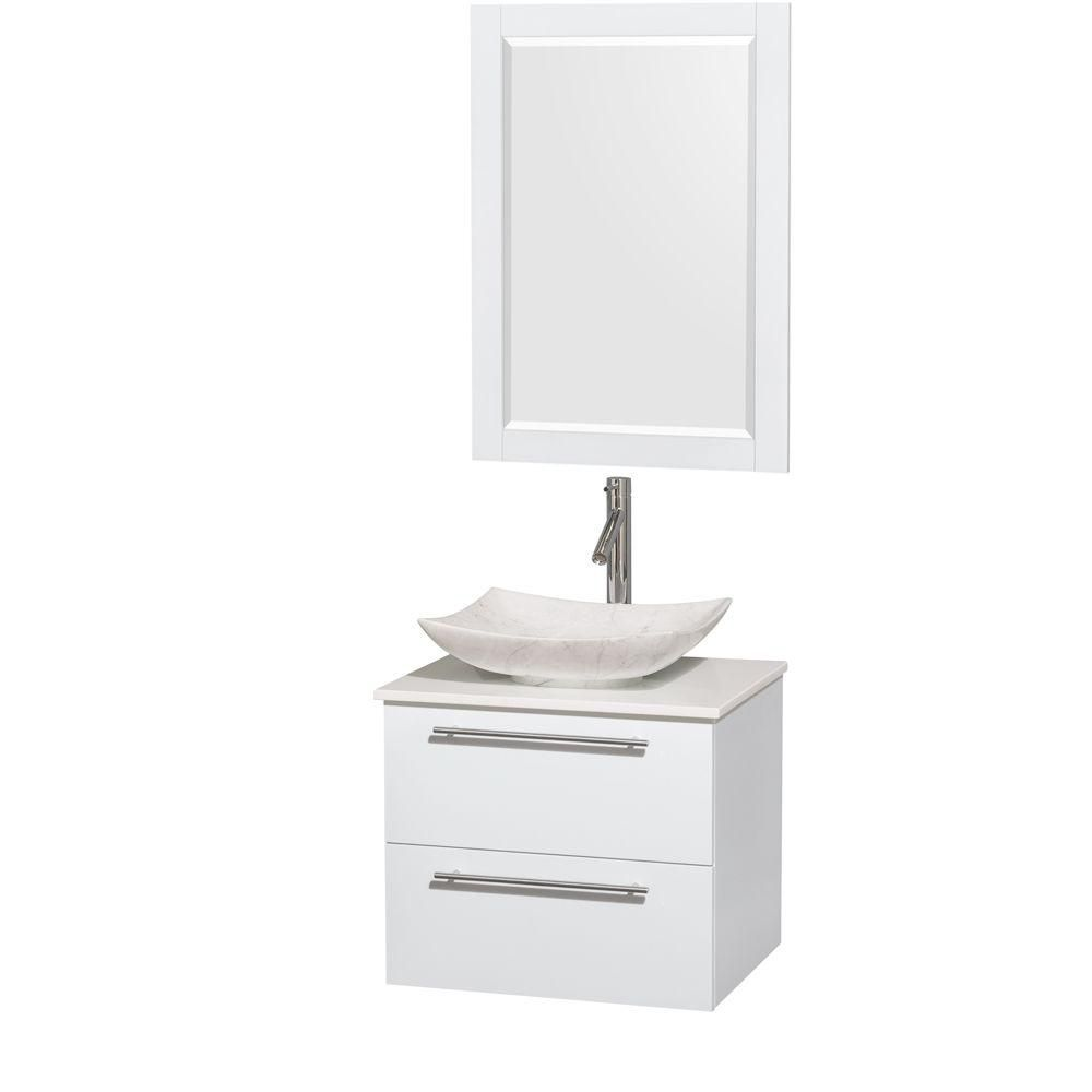 Amare 24-inch W Vanity in White with Solid Top with White Basin and Mirror