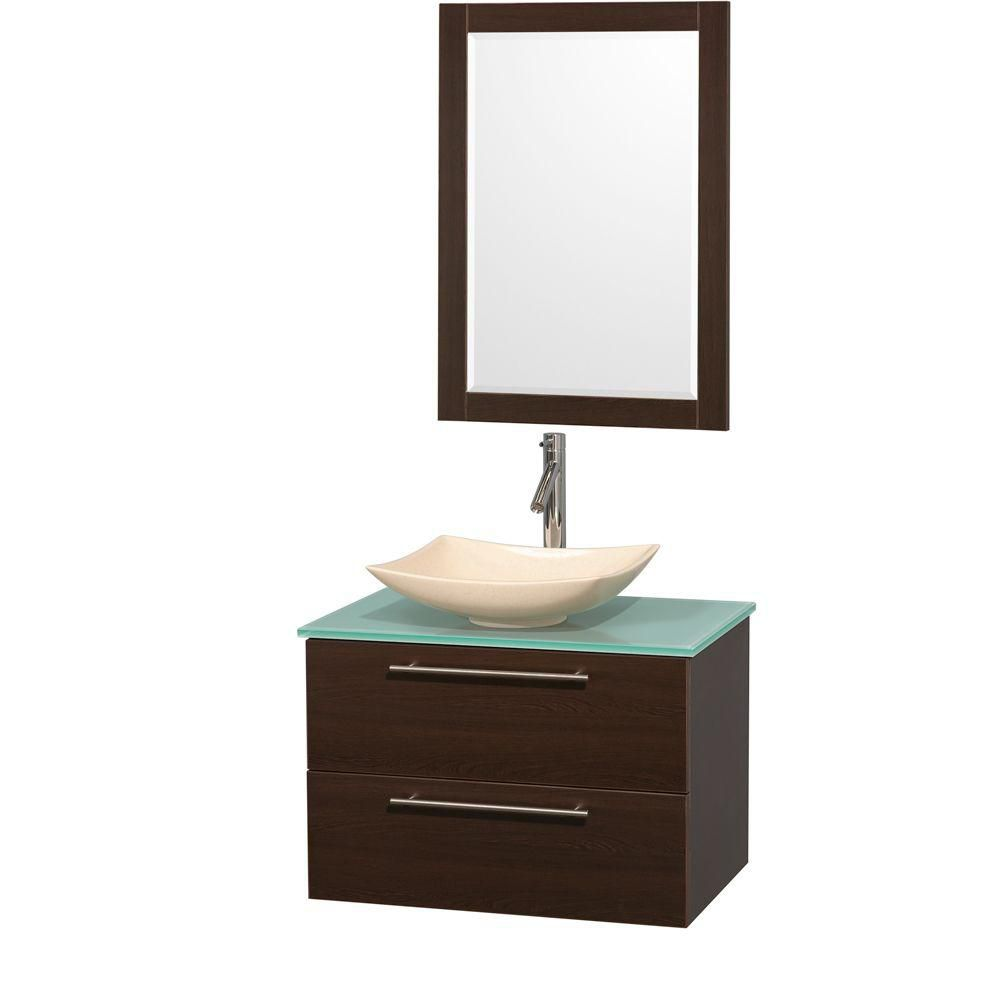 Amare 30-inch W Vanity in Espresso with Glass Top with Ivory Basin and Mirror