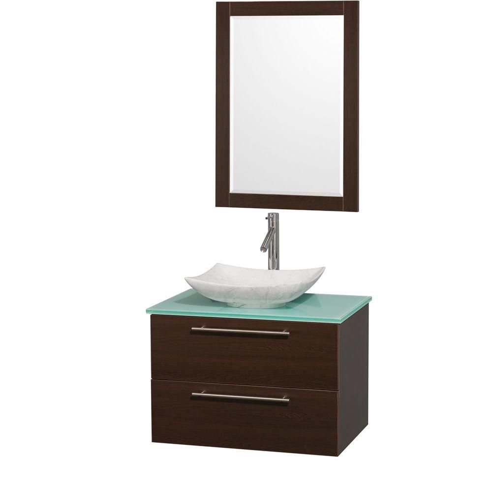 Amare 30-inch W Vanity in Espresso with Glass Top with White Basin and Mirror