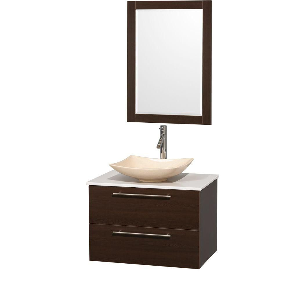 Amare 30-inch W Vanity in Espresso with Solid Top with Ivory Basin and Mirror
