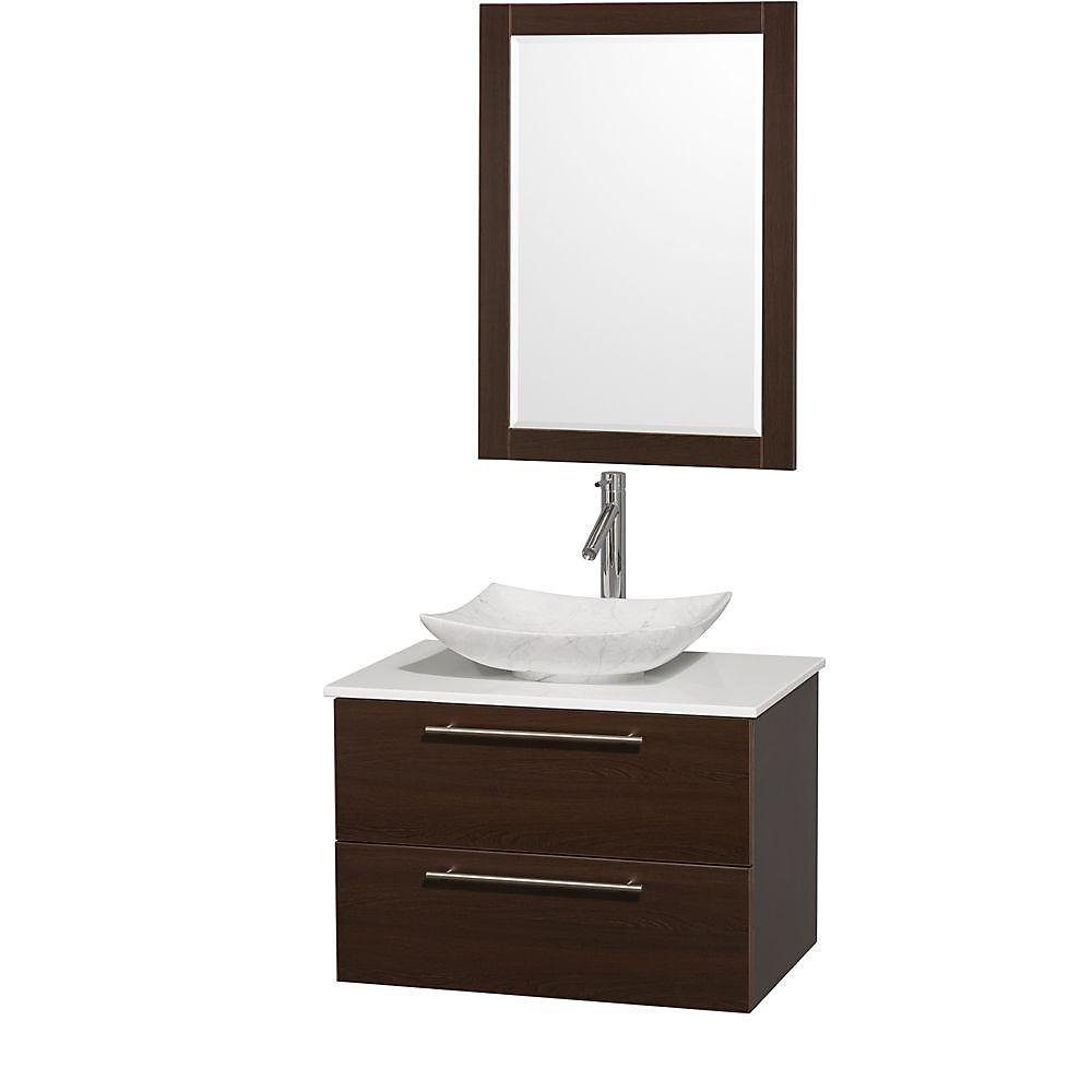Amare 30-inch W 2-Drawer Wall Mounted Vanity in Brown With Artificial Stone Top in White