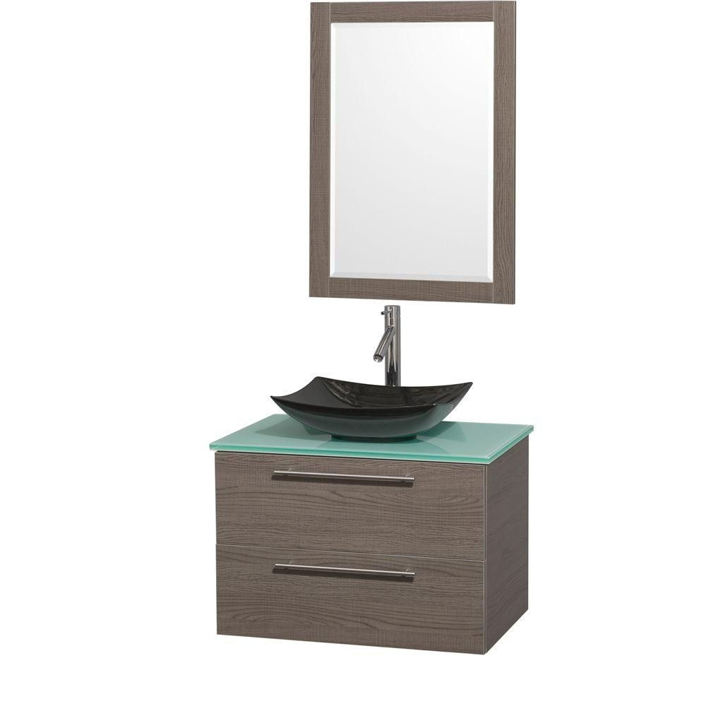 Amare 30-inch W Vanity in Grey Oak with Glass Top with Black Basin and Mirror