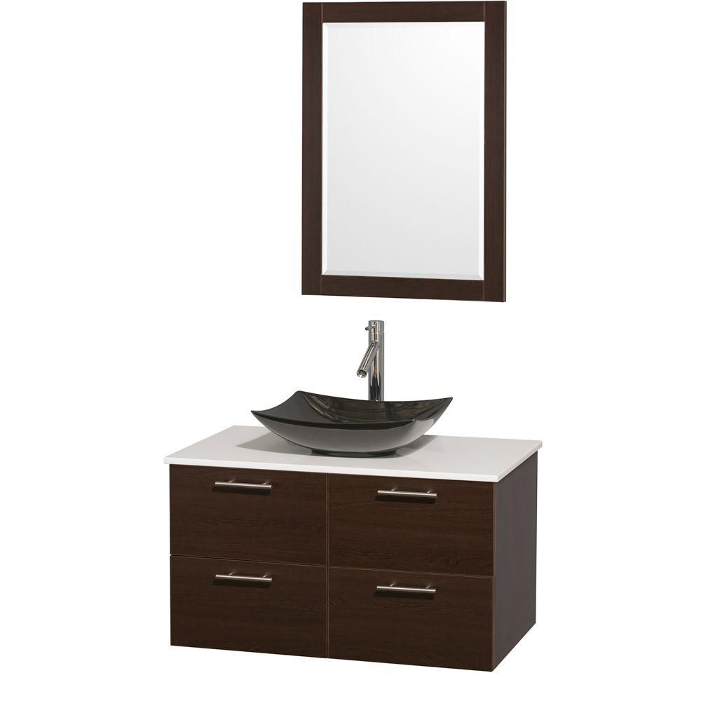 Amare 36-inch W Vanity in Espresso with Solid Top with Black Basin and Mirror