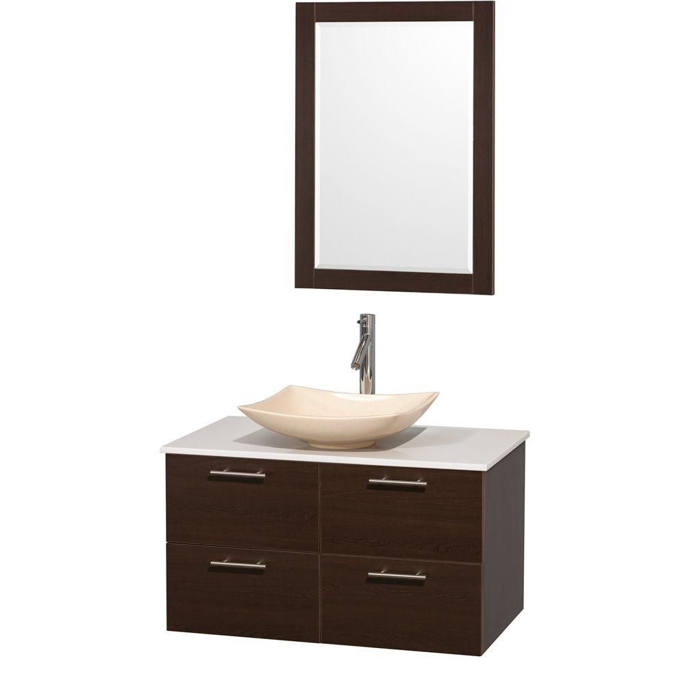 Amare 36-inch W Vanity in Espresso with Solid Top with Ivory Basin and Mirror