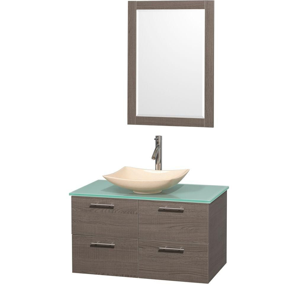 Amare 36-inch W Vanity in Grey Oak with Glass Top with Ivory Basin and Mirror