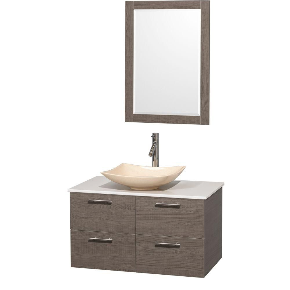 Amare 36-inch W Vanity in Grey Oak with Solid Top with Ivory Basin and Mirror