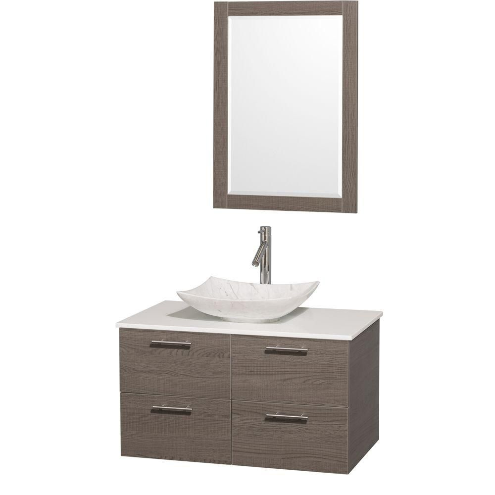 Amare 36-inch W Vanity in Grey Oak with Solid Top with White Basin and Mirror