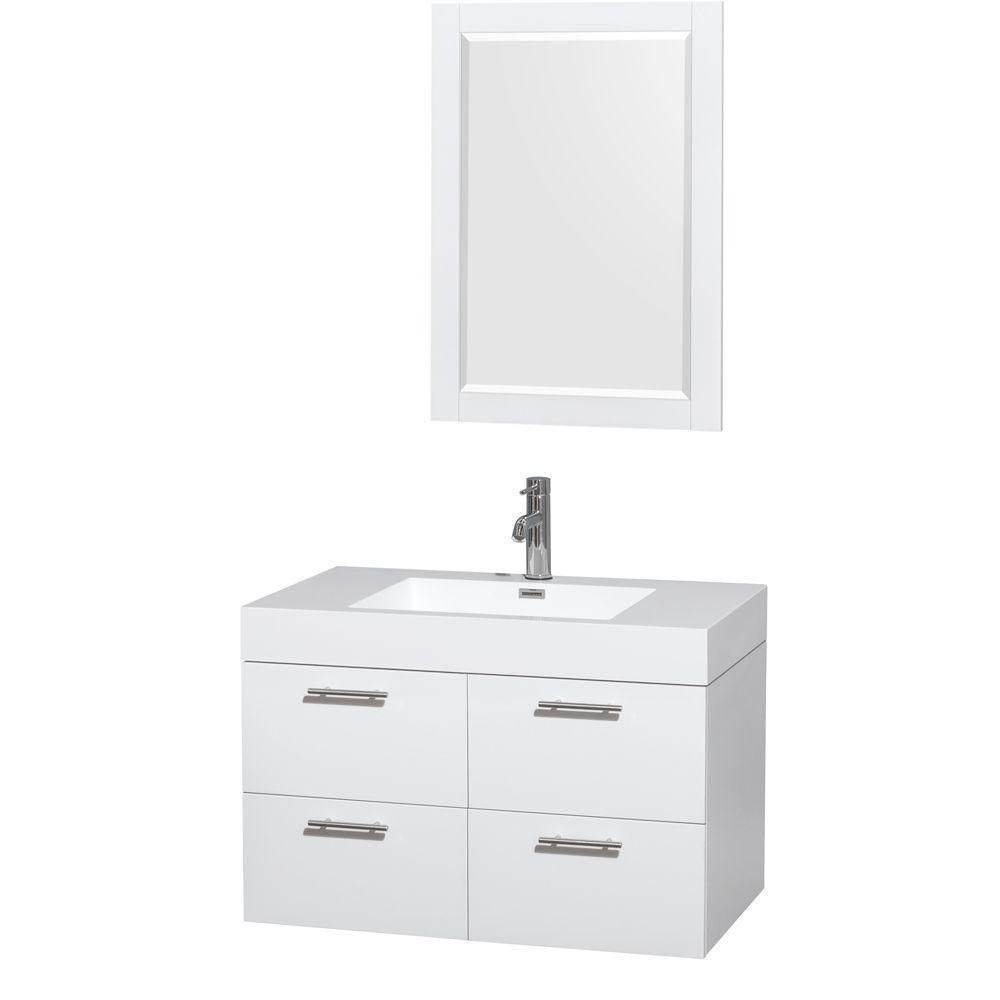 Amare 36-inch W Vanity in Glossy White with Acrylic-Resin Top and 24-inch Mirror
