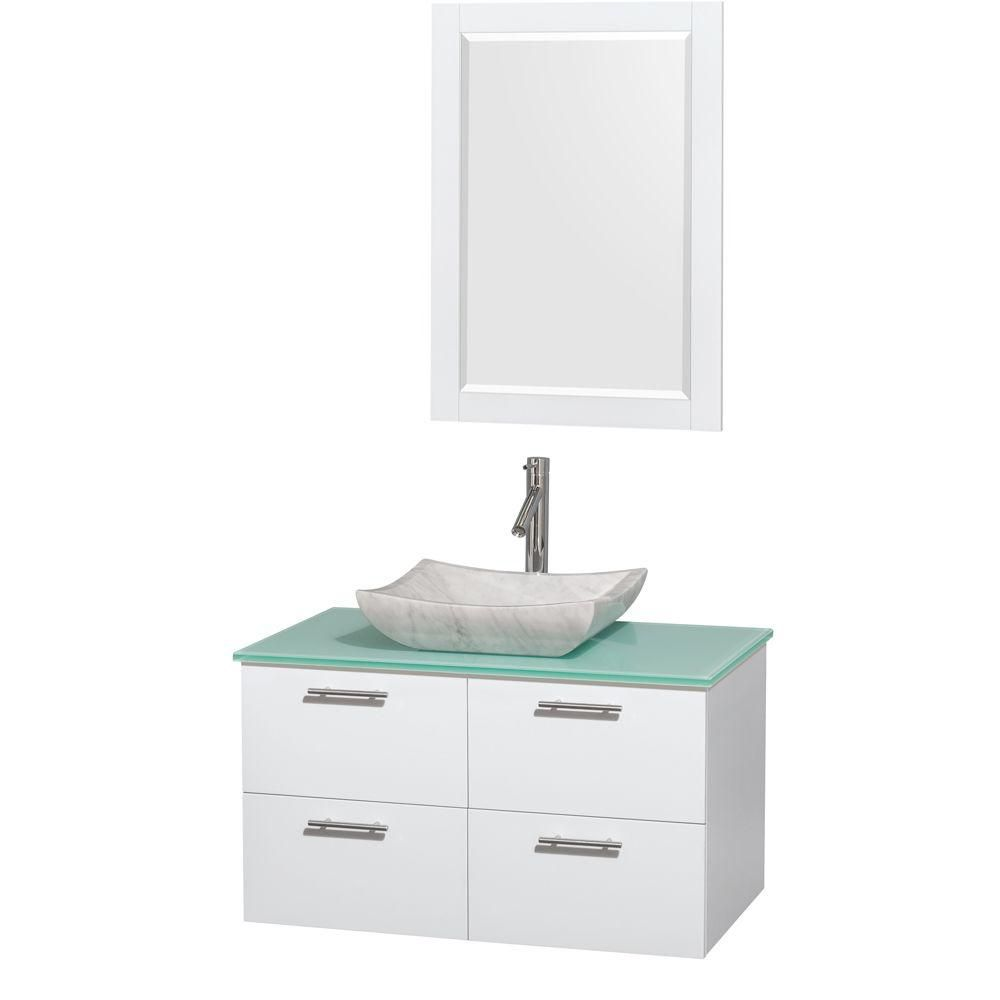 Amare 36-inch W Vanity in White with Glass Top with White Basin and Mirror