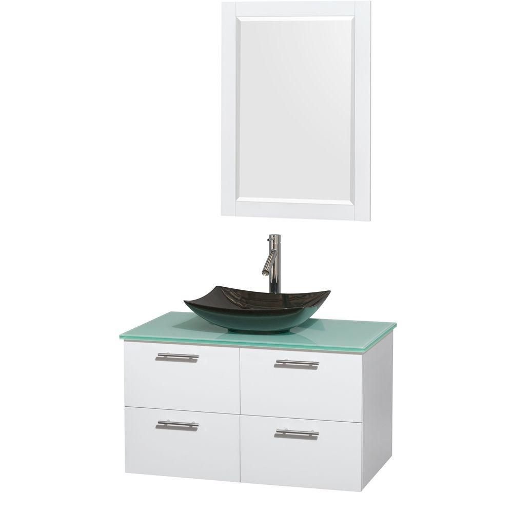 Amare 36-inch W Vanity in White with Glass Top with Black Basin and Mirror