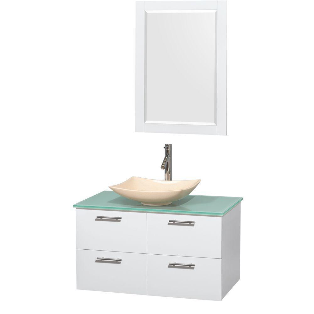Amare 36 po Meuble laqué blanc et revêtement en verre effet eau et évier en marbre ivoire