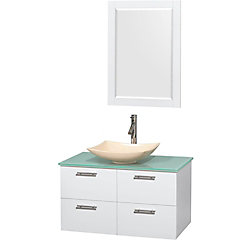 Wyndham Collection Amare 36-inch W 2-Drawer 2-Door Wall Mounted Vanity in White With Top in Green With Mirror