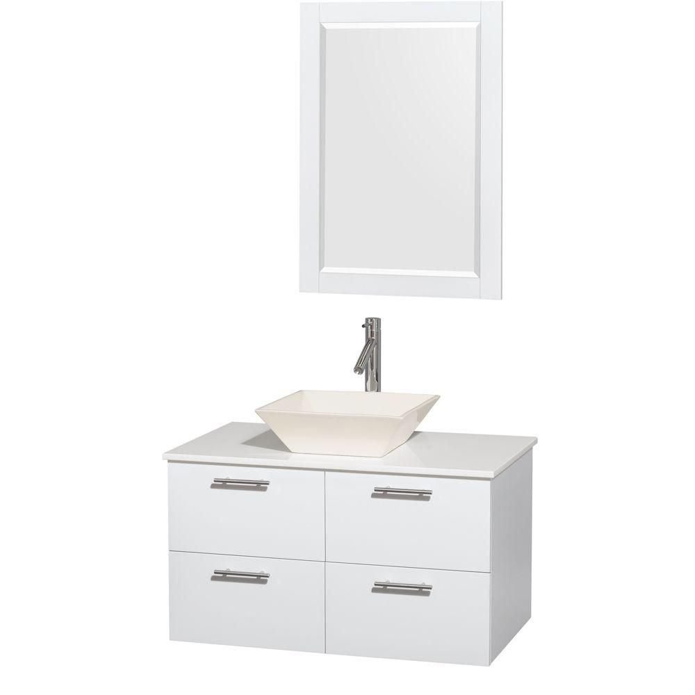 Amare 36-inch W Vanity in White with Solid Top with Bone Basin and Mirror
