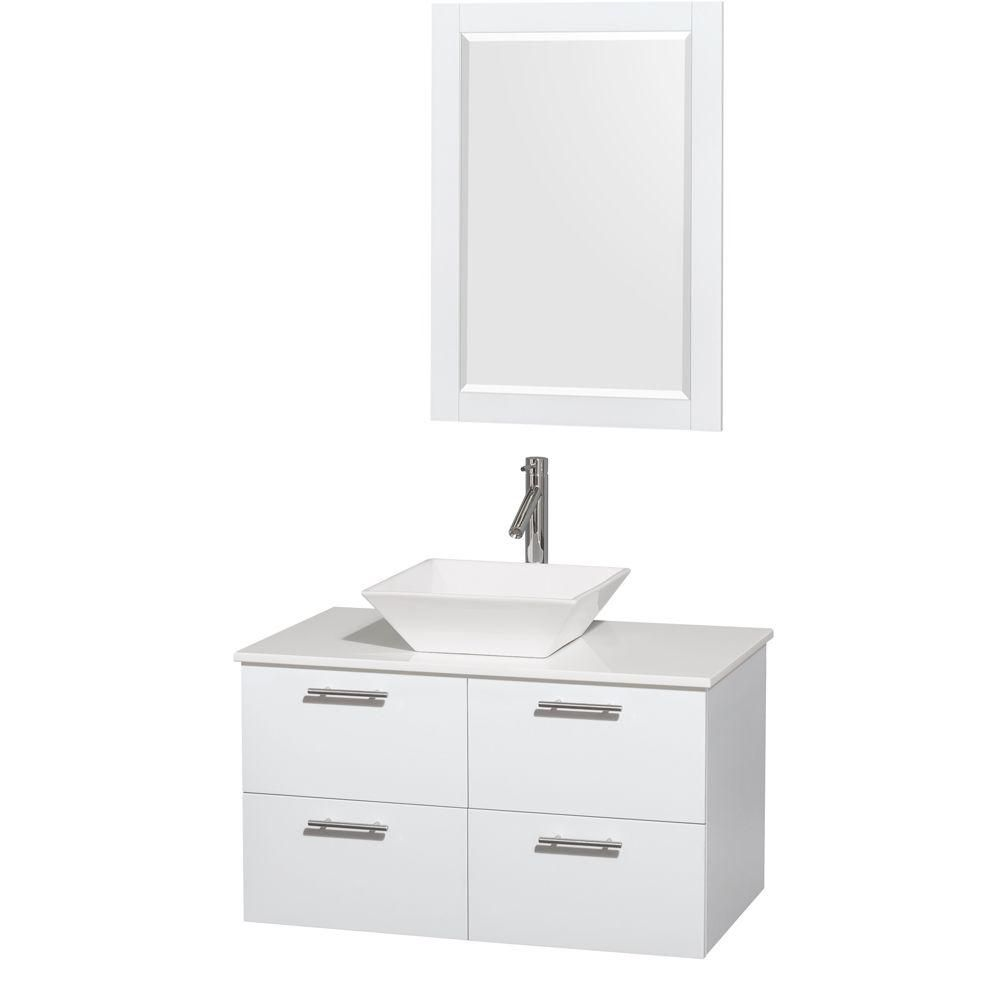 Wyndham Collection Amare 36-inch W 2-Drawer 2-Door Wall Mounted Vanity in White With Artificial Stone Top in White