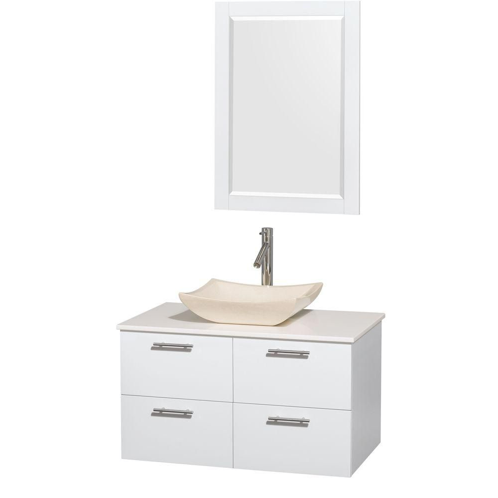 Amare 36 In. Single Glossy White Bathroom Vanity, Solid SurfaceTop, Ivory Marble Sink, 24 In. Mirror WCR410036SGWWSGS2M24 Canada Discount
