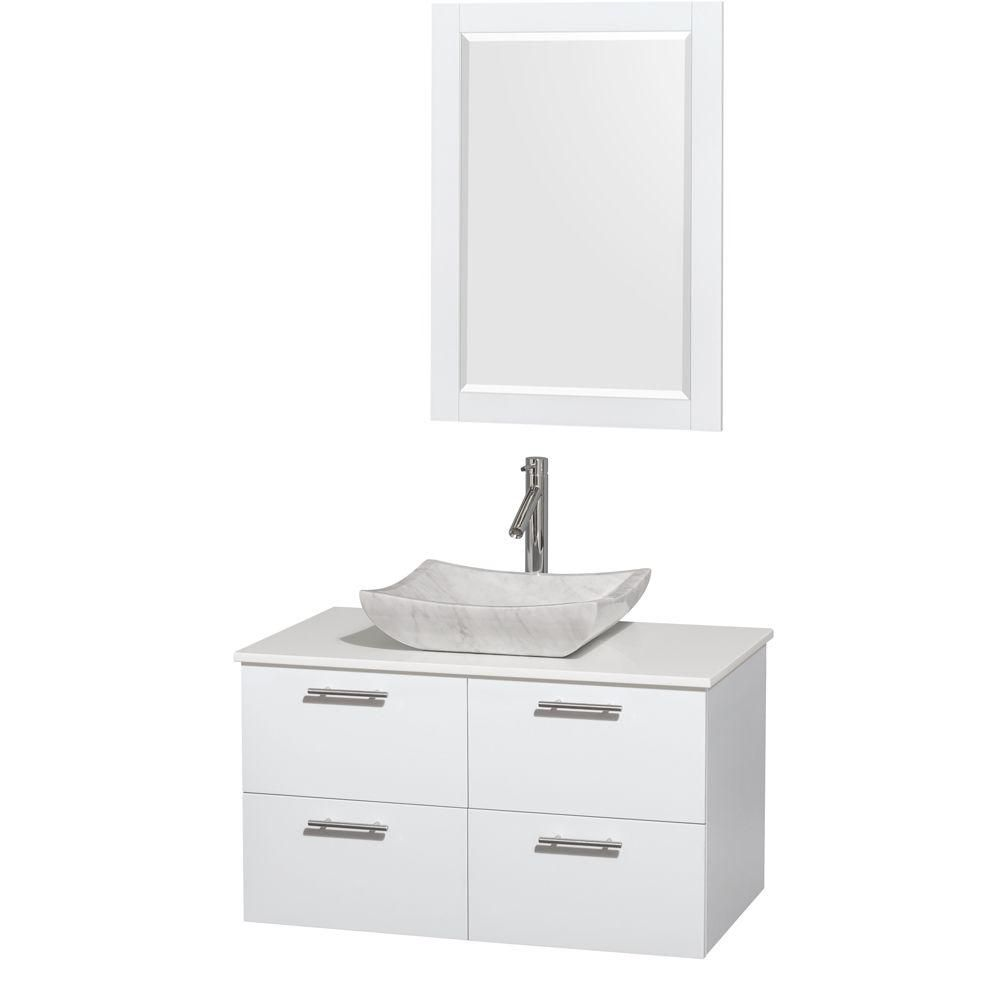 Amare 36-inch W Vanity in White with Solid Top with White Basin and Mirror