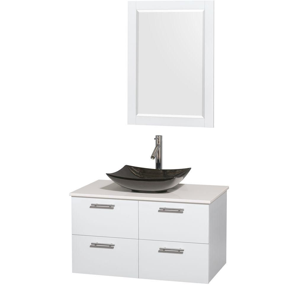 Amare 36-inch W Vanity in White with Solid Top with Black Basin and Mirror