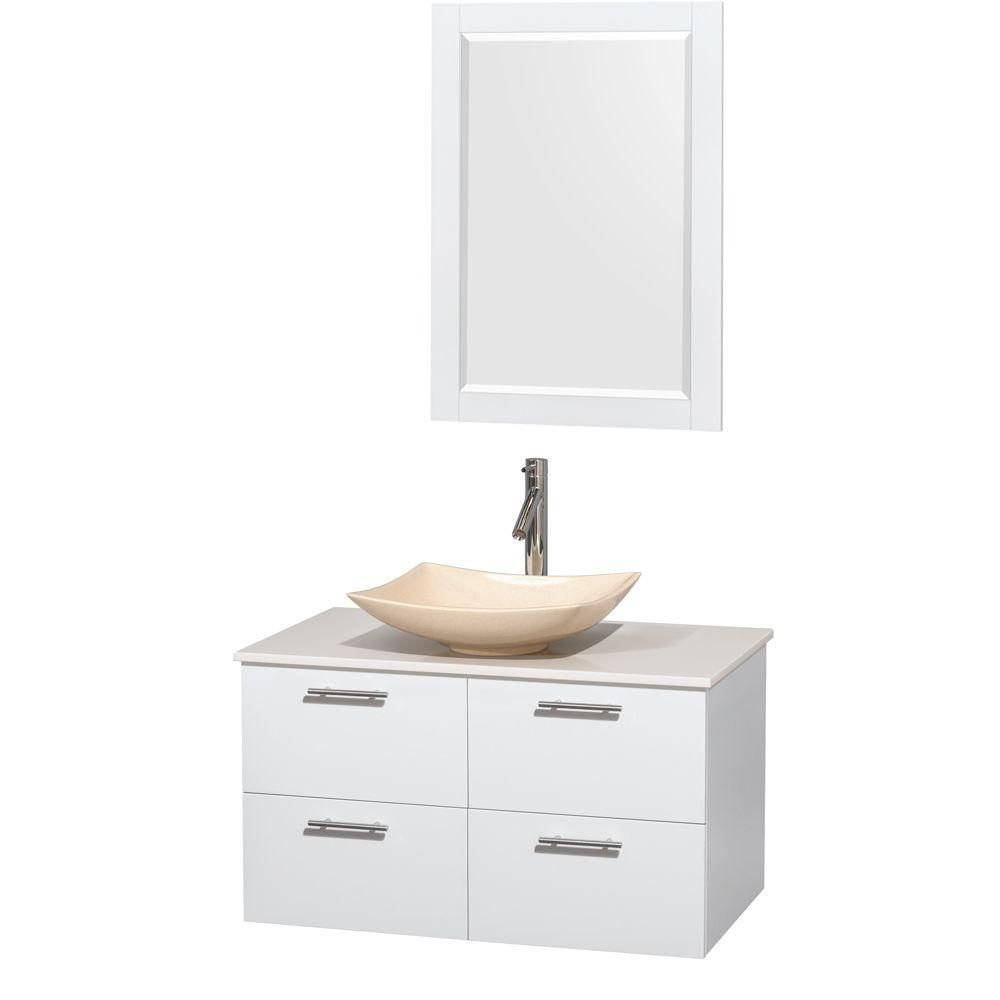 Amare 36-inch W Vanity in White with Solid Top with Ivory Basin and Mirror